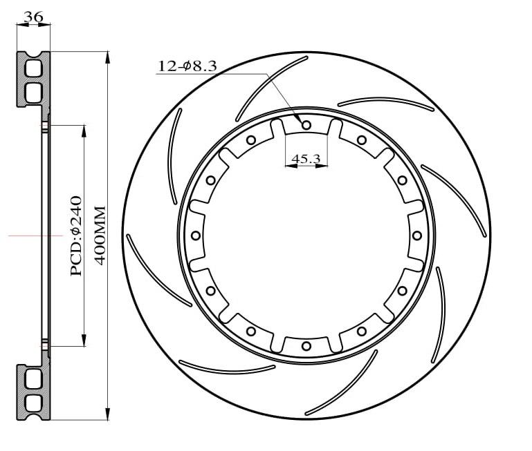 Tarcze hamulcowe nacinane do zestawu Big Brake 400mm 2015 - GRUBYGARAGE - Sklep Tuningowy